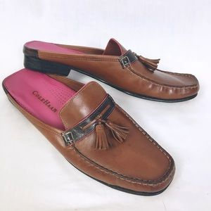Cole Haan Tassel Loafers Brown Leather Pink Trim